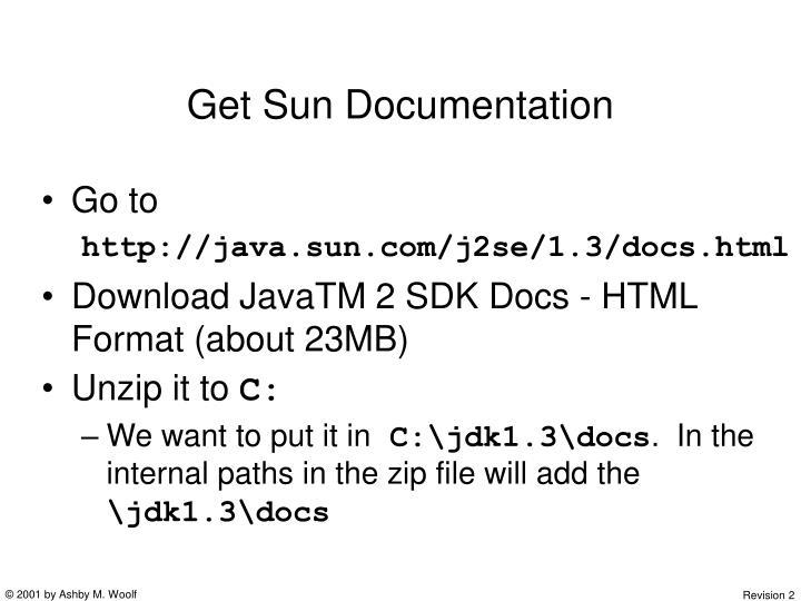 Get Sun Documentation