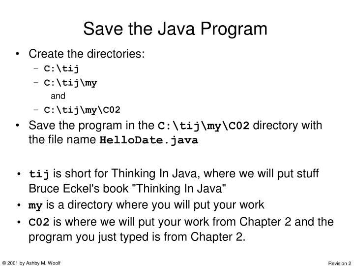 Save the Java Program