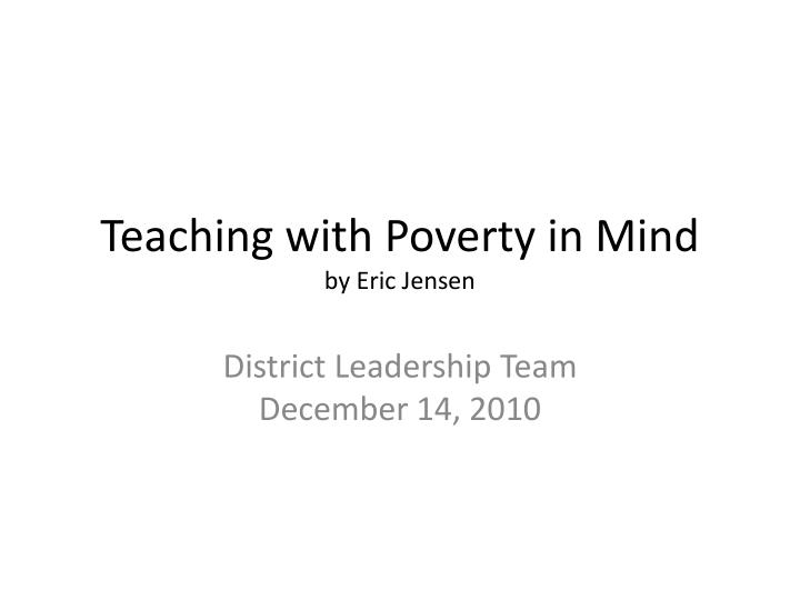 teaching with poverty in mind by eric jensen n.