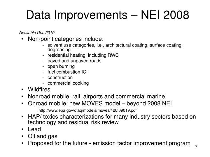 Data Improvements – NEI 2008