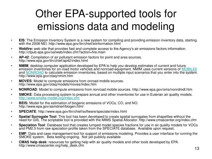 Other EPA-supported tools for emissions data and modeling