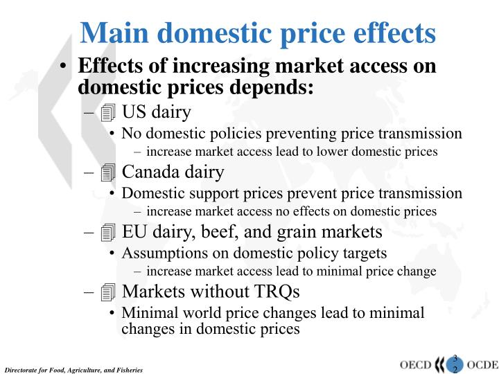 Main domestic price effects