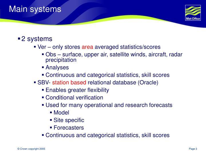 Main systems