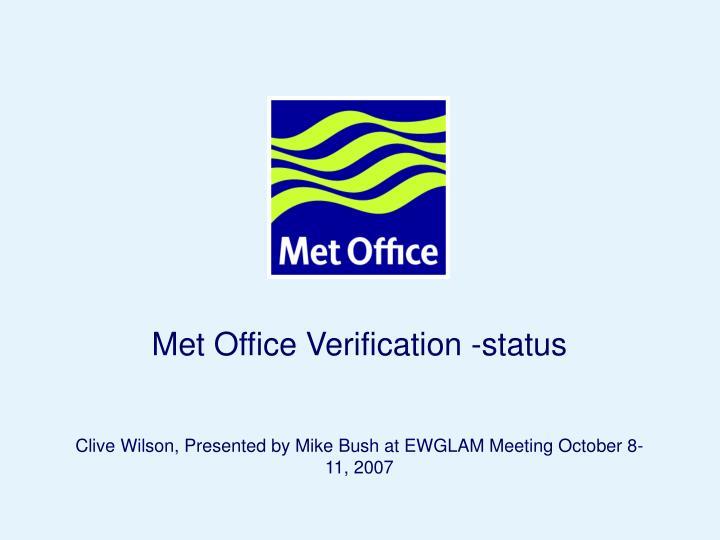 Met Office Verification -status