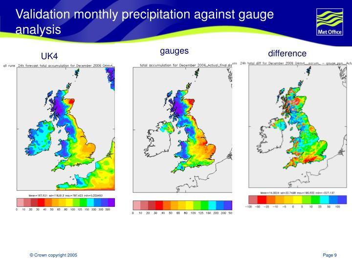Validation monthly precipitation against gauge analysis