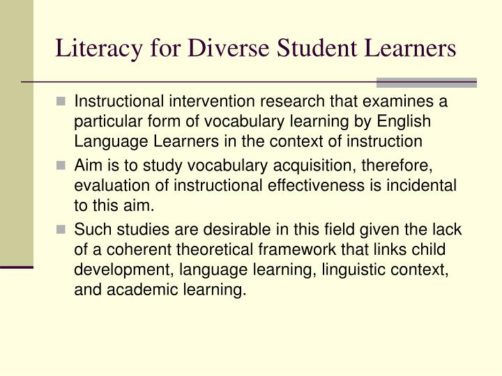 literacy for diverse student learners n.