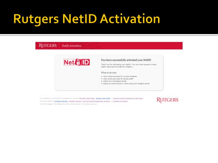 Rutgers NetID Activation