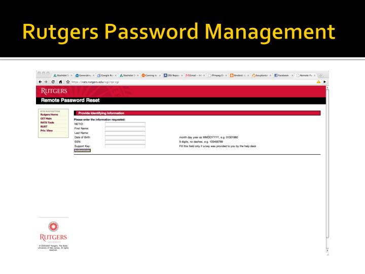 Rutgers Password Management