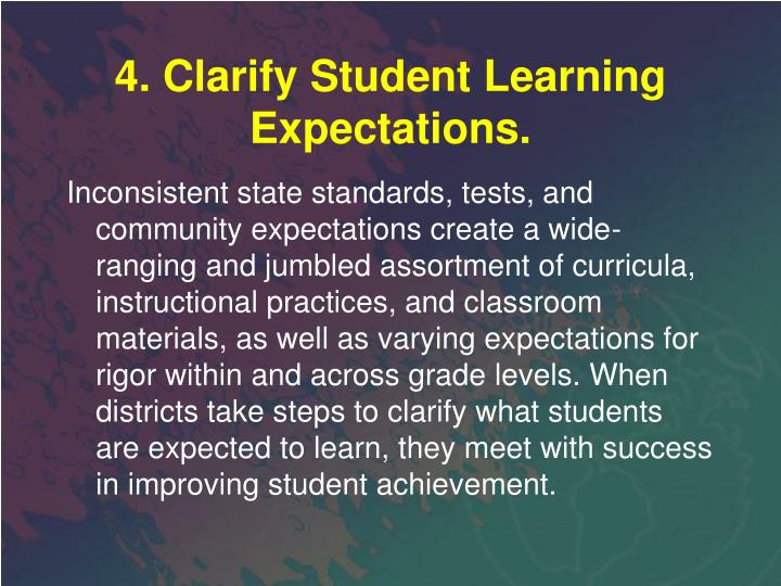 4. Clarify Student Learning Expectations.