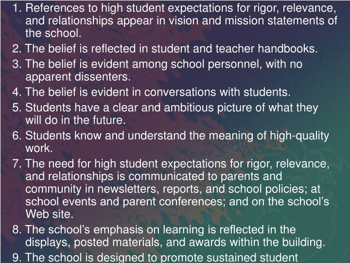 1. References to high student expectations for rigor, relevance, and relationships appear in vision and mission statements of the school.