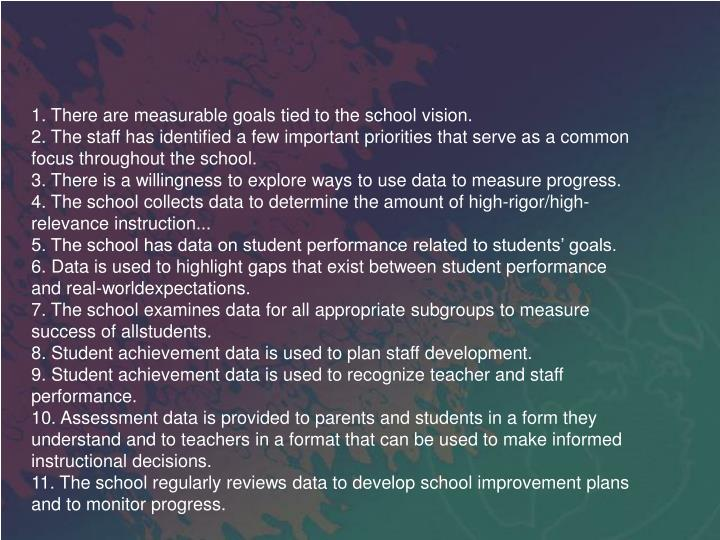 1. There are measurable goals tied to the school vision.