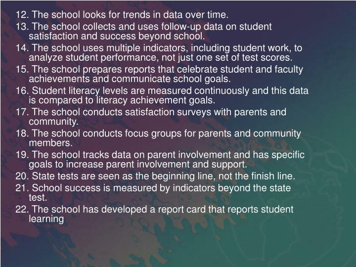 12. The school looks for trends in data over time.