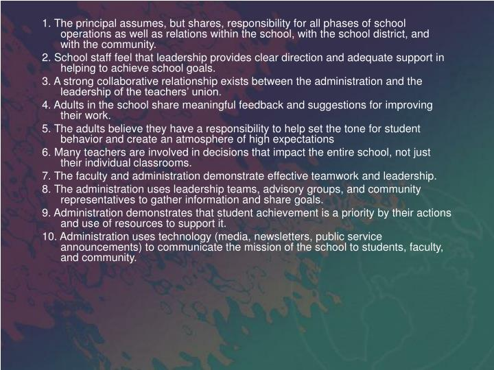 1. The principal assumes, but shares, responsibility for all phases of school operations as well as relations within the school, with the school district, and with the community.