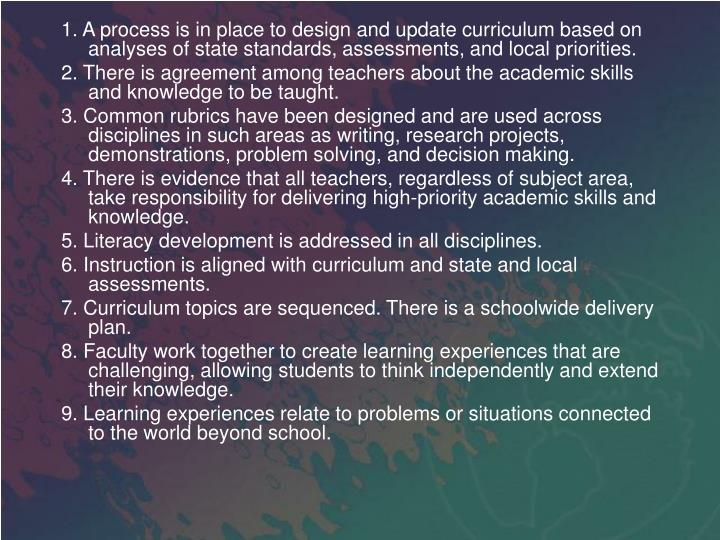 1. A process is in place to design and update curriculum based on analyses of state standards, assessments, and local priorities.