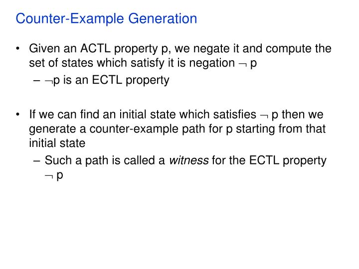 Counter-Example Generation