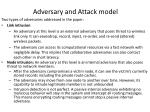adversary and attack model