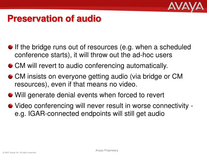Preservation of audio