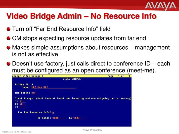 Video Bridge Admin – No Resource Info