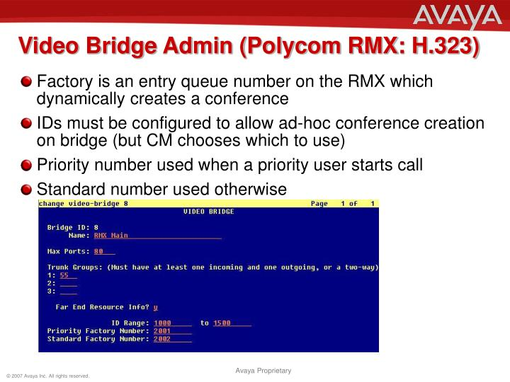 Video Bridge Admin (Polycom RMX: H.323)