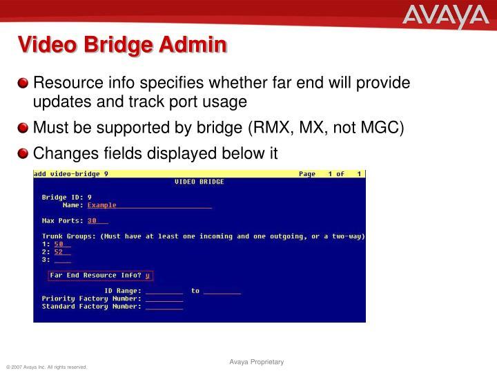 Video Bridge Admin