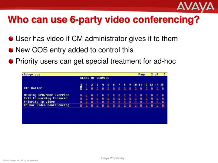 Who can use 6-party video conferencing?