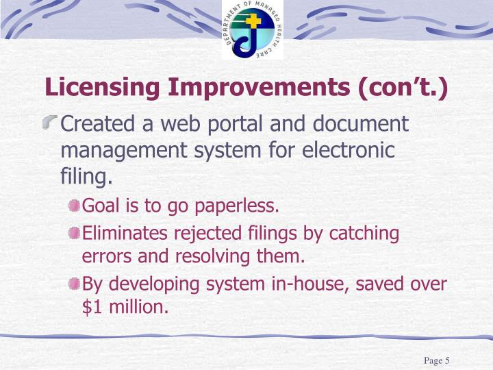 Licensing Improvements (con't.)