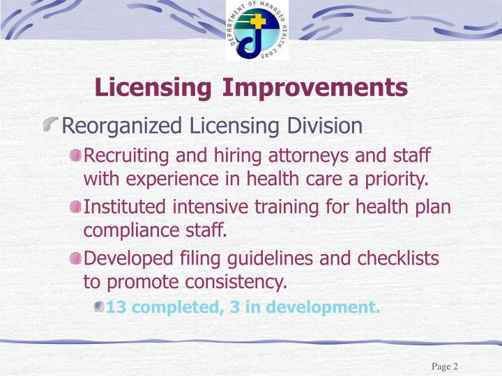 Licensing improvements