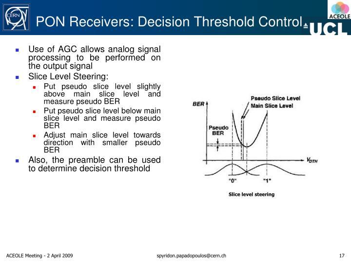 PON Receivers: Decision Threshold Control