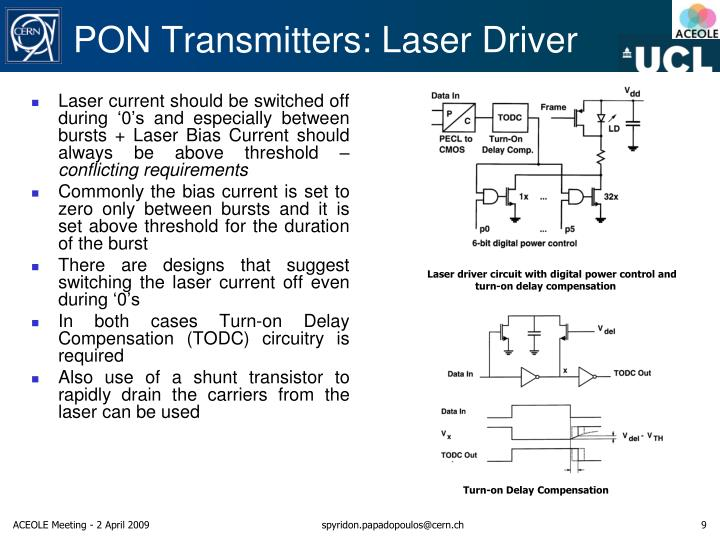 Laser current should be switched off during '0's and especially between bursts + Laser Bias Current should always be above threshold –