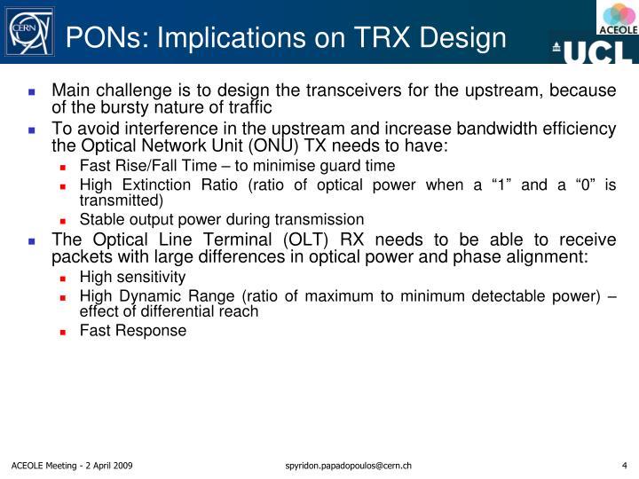 PONs: Implications on TRX Design