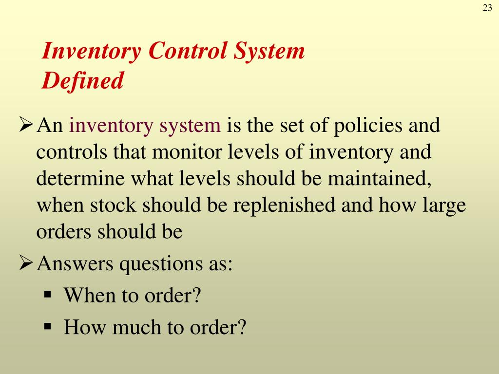 PPT - Inventory Management and Control PowerPoint Presentation - ID