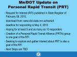 mn dot update on personal rapid transit prt