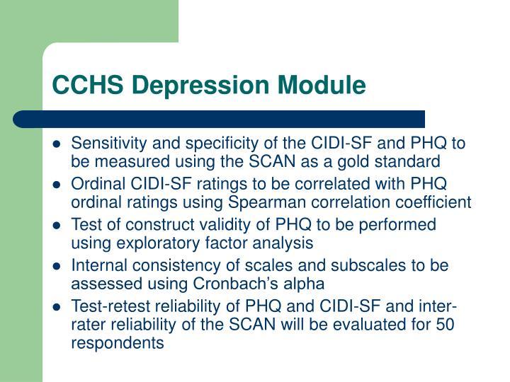 CCHS Depression Module