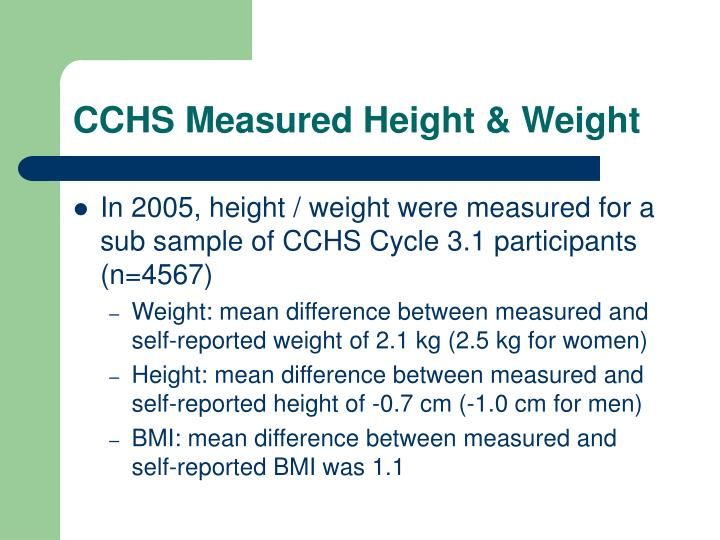 CCHS Measured Height & Weight