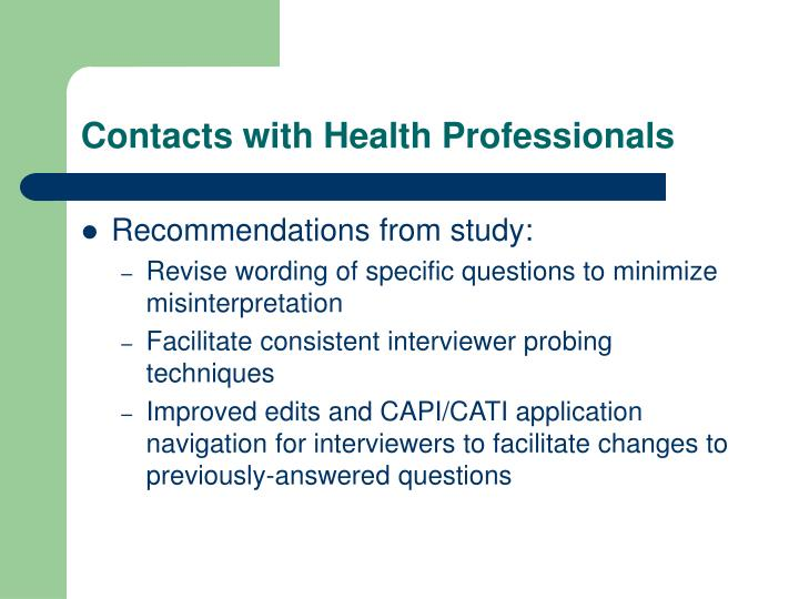 Contacts with Health Professionals