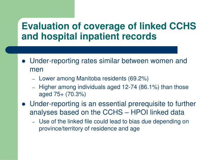 Evaluation of coverage of linked CCHS and hospital inpatient records