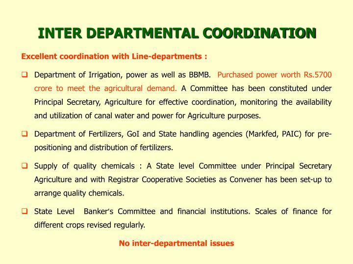 INTER DEPARTMENTAL COORDINATION