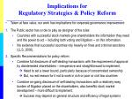 implications for regulatory strategies policy reform
