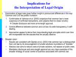 implications for the interpretation of legal origin