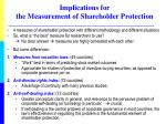 implications for the measurement of shareholder protection