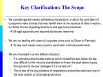 key clarification the scope