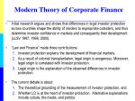modern theory of corporate finance2