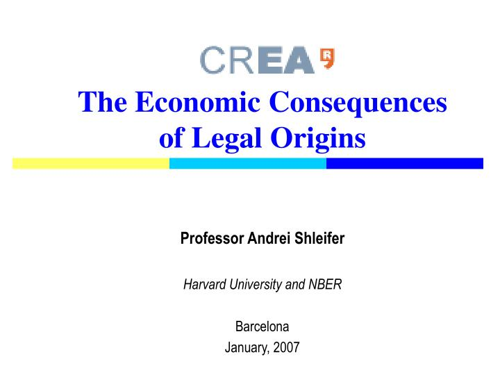 the economic consequences of legal origins n.