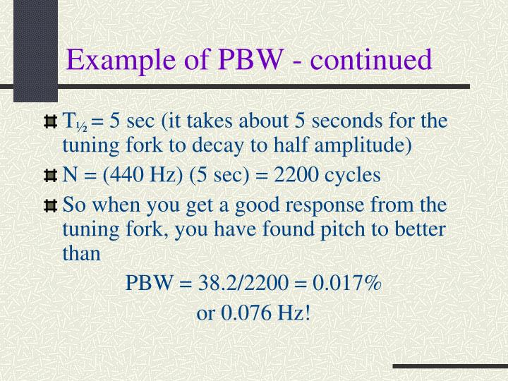 Example of PBW - continued