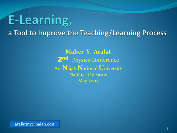 e learning a tool to improve the teaching learning process n.