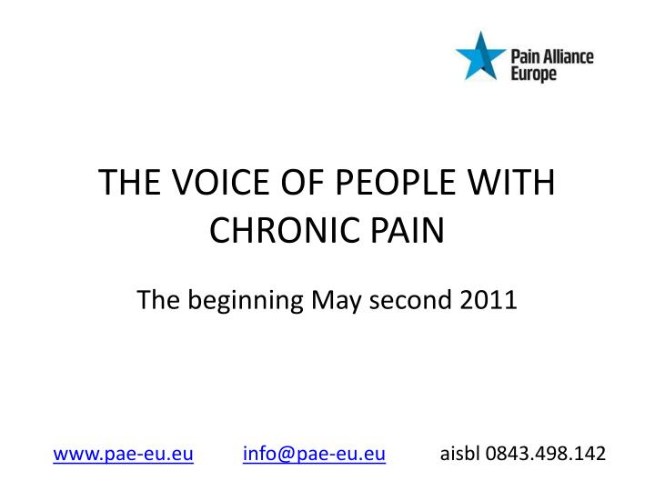 the voice of people with chronic pain n.