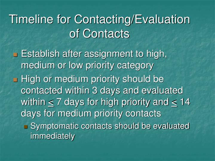 Timeline for Contacting/Evaluation of Contacts