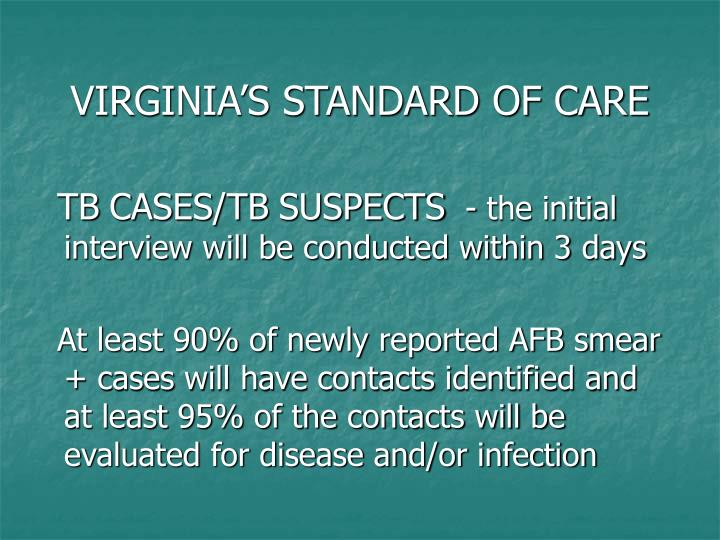 VIRGINIA'S STANDARD OF CARE