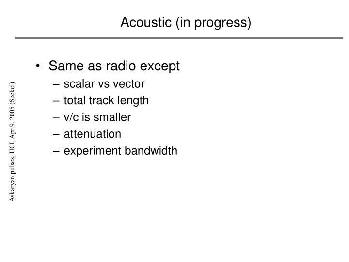 Acoustic (in progress)