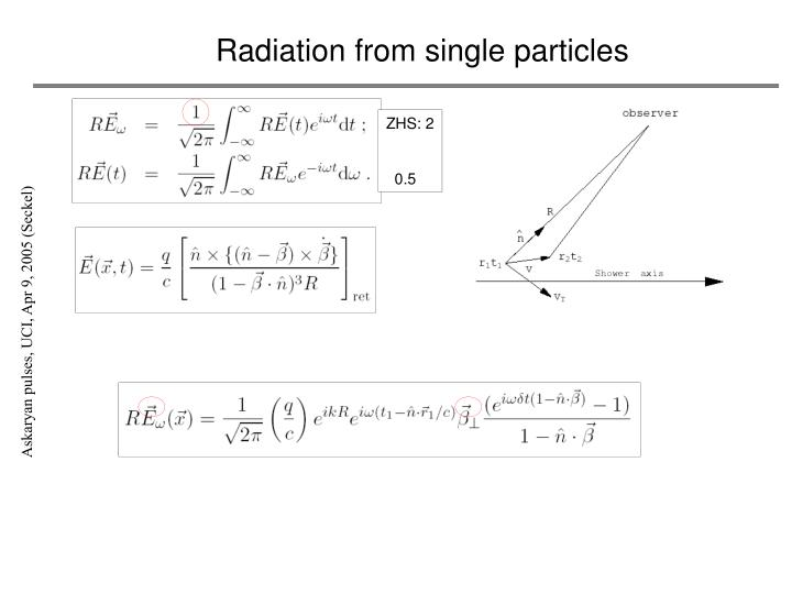 Radiation from single particles
